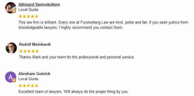 Google Reviews for Furstenberg Law