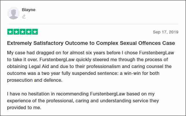 TrustPilot Review From Blayne for Furstenberg Law