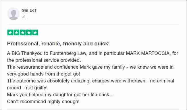TrustPilot Review From Sin Ect for Furstenberg Law