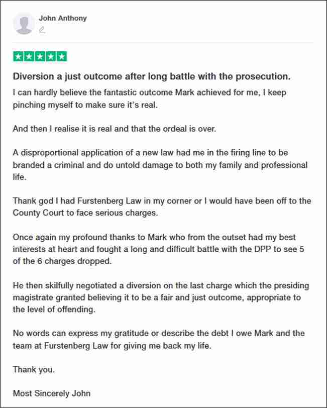 TrustPilot Review From John Anthony for Furstenberg Law